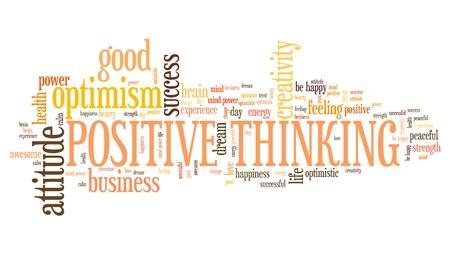 Positive thinking word cloud. Optimistic attitude for life success. Stock Photo