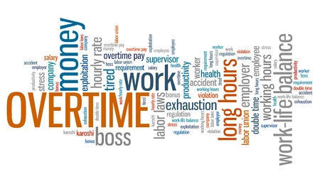 cloud industry: Overtime - employment issues and concepts word cloud illustration. Word collage concept. Stock Photo