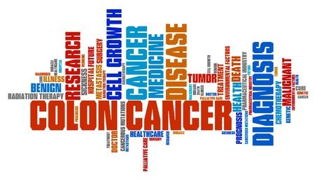 colon cancer: Colon cancer word collage concept. Serious illness treatment.