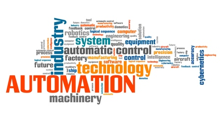 industrial machinery: Automation industry issues and concepts word cloud illustration. Word collage concept. Stock Photo