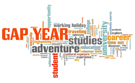 gap: Gap year holiday issues and concepts word cloud illustration. Word collage concept.
