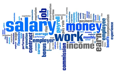 employment issues: Salary - employment issues and concepts word cloud illustration. Word collage concept. Stock Photo