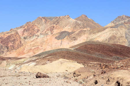 alluvial: Mojave Desert in California, United States. Scenic view of alluvial fan of Black Mountains in Death Valley National Park (Inyo County). Stock Photo