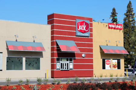 establishment states: FRESNO, UNITED STATES - APRIL 12, 2014: Jack in the Box restaurant in Fresno, California. The fast food restaurant chain has 2,200 locations, mostly on West Coast.