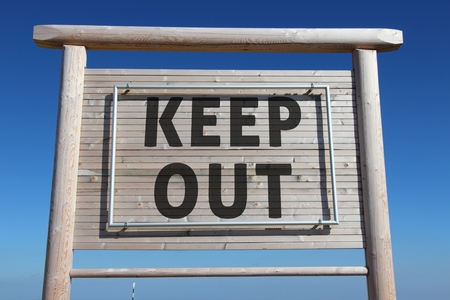 keep out: Keep out - wooden private property sign with message.