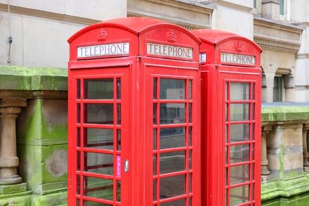 midlands: Birmingham red telephone boxes. West Midlands, England. Stock Photo