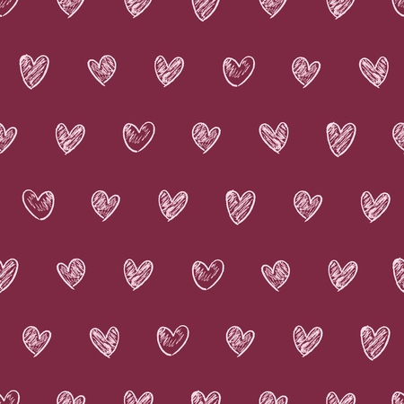 Doodle heart background illustration - love drawing seamless texture. Wrapping paper design.