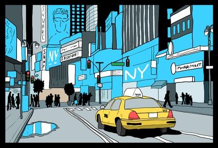 ニューヨーク図面 - タイムズスクエアの夜景。手描きのイラスト。