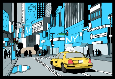 New York drawing - Times Square night view. Hand drawn illustration. Ilustração