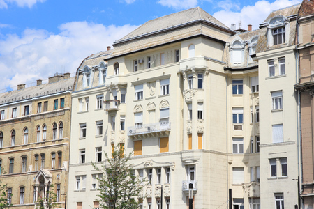 townhouse: Budapest, Hungary - old residential architecture. Vintage townhouse.