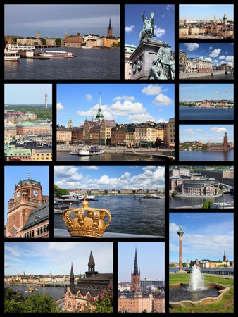 gamla stan: Stockholm, Sweden travel photos collage. Collage includes major landmarks like Gamla Stan (Old Town), Sodermalm island and City Hall.