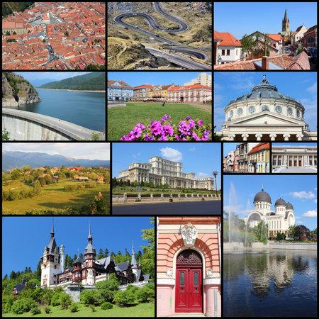collage travel: Romania country photo collage. Travel photos set with Bucharest, Ploiesti, Brasov, Timisoara, Sibiu and Arad.