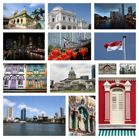 travel collage: Singapore City travel photo collage - images collection.