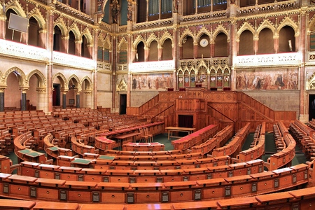 gothic revival style: BUDAPEST, HUNGARY - JUNE 19, 2014: Interior view of Parliament Building in Budapest. The building was completed in 1905 and is in Gothic Revival style. Editorial