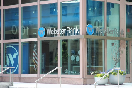 bank branch: PROVIDENCE, USA - JUNE 8, 2013: Webster Bank branch in Providence. As of 2015 it holds USD 23 billion in assets.