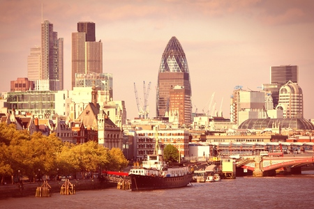 london skyline: London skyline, United Kingdom - cityscape with modern buildings. Retro filtered color style.