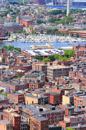 north   end: Boston, Massachusetts in the United States. City aerial view with North End.