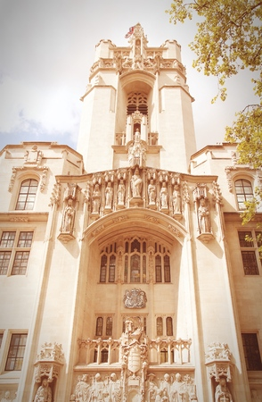 middlesex: London, United Kingdom - Middlesex Guildhall, home of the Supreme Court of the United Kingdom. Retro filtered color style.