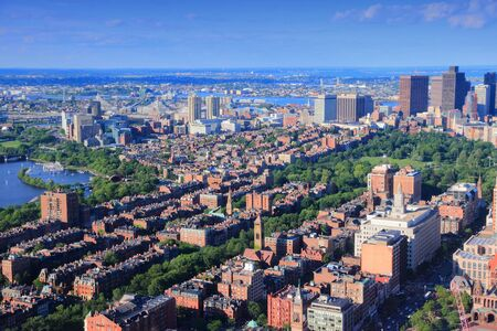 boston common: Boston, Massachusetts in the United States. City aerial view with Boston Common and the downtown.