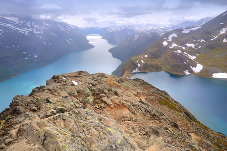 besseggen: Norway nature - Jotunheimen National Park. Famous Besseggen ridge trail between two lakes (Gjende and Bessvatnet). Oppland county landscape.