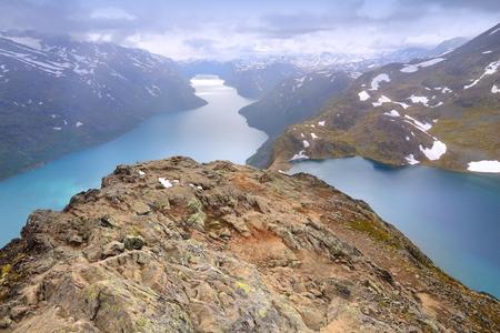 Norway nature - Jotunheimen National Park. Famous Besseggen ridge trail between two lakes (Gjende and Bessvatnet). Oppland county landscape.