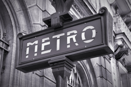 france station: Paris, France - retro metro station sign. Subway train entrance.