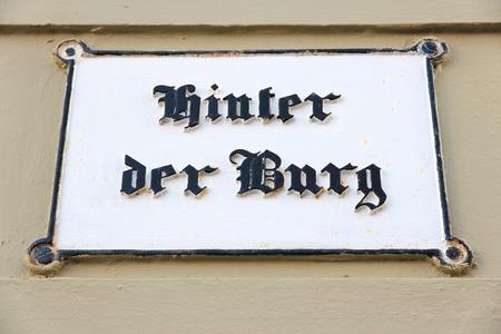 burg: Lubeck in region Schleswig-Holstein, Germany. Hinter der Burg street sign.