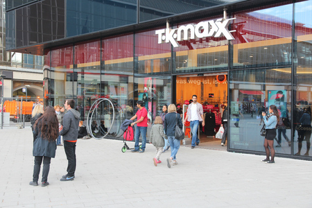 tk: BERLIN, GERMANY - AUGUST 25, 2014: People visit T.K. Maxx store in Berlin. As of 2014 the clothing outlet and home goods company has some 1000 stores worldwide. Editorial