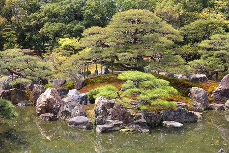 nijo: Japanese garden in Kyoto, Japan. Ninomaru Garden of Nijo Castle. Editorial