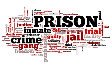 enforcement: Prison - law enforcement issues and concepts word cloud illustration. Word collage concept. Stock Photo