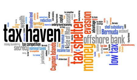 avoidance: Tax haven - finance issues and concepts tag cloud illustration. Word cloud collage concept. Stock Photo