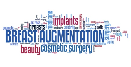 boobs: Breasts augmentation - cosmetic surgery. Word cloud concept. Stock Photo