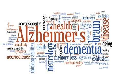 alzheimer's: Alzheimers disease - elderly health concepts word cloud illustration. Word collage concept.