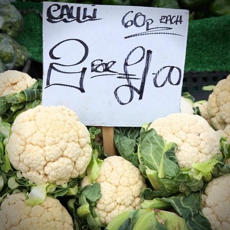 grocers: Cauliflower at a marketplace in Birmingham, United Kingdom. Farmers market. Stock Photo