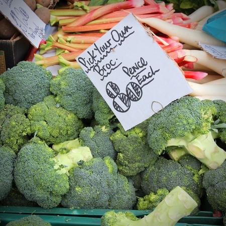 grocers: Broccoli at a marketplace in Birmingham, United Kingdom. Farmers market.
