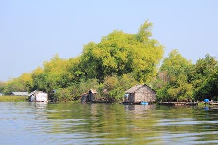 tonle sap: Cambodia - floating village on Tonle Sap lake. Exotic Southeast Asia. Stock Photo