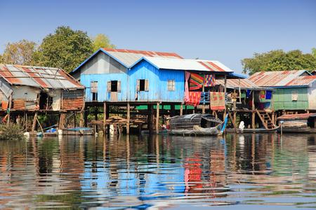 sap: Cambodia - floating village on Tonle Sap lake. Exotic Southeast Asia. Stock Photo