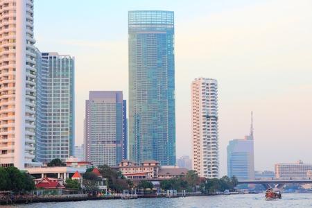 phraya: Bangkok, Thailand - skyscraper skyline seen from Chao Phraya river.