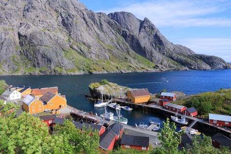 archipelago: Lofoten archipelago in Norway. Nusfjord fishing village in Flakstadoya island. Stock Photo