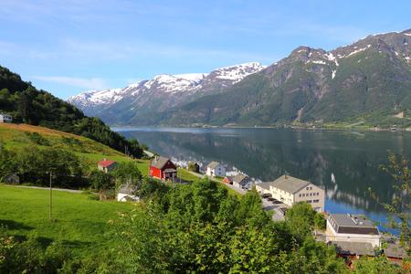 hardanger: Norway fiord landscape - part of Hardanger Fjord called Sorfjord. Morning view.