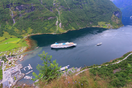 fiord: Geiranger Fiord in Norway. More og Romsdal county landscape. Stock Photo