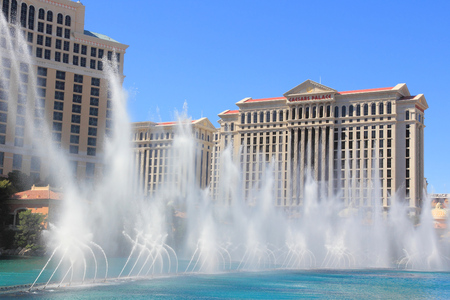 bellagio fountains: LAS VEGAS, USA - APRIL 14, 2014: Fountains in front of Bellagio casino in Las Vegas. Bellagio is among 15 largest hotels in the world with 3,950. Editorial