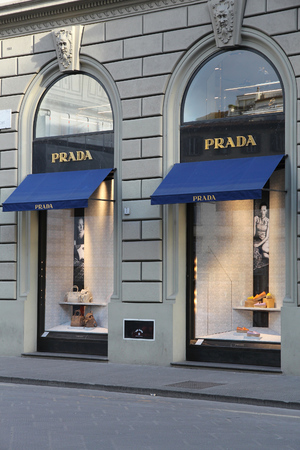 prada: FLORENCE, ITALY - APRIL 30, 2015: Prada fashion store in Florence. Prada is a fashion company with 3.6 billion EUR of annual revenue (2013).