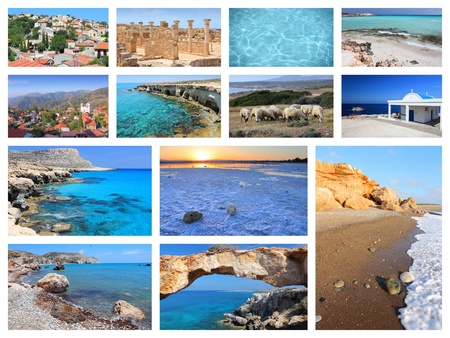 Cyprus travel photo collage - images collection with monuments, Kavo Greko, Paphos and beaches. Stock Photo