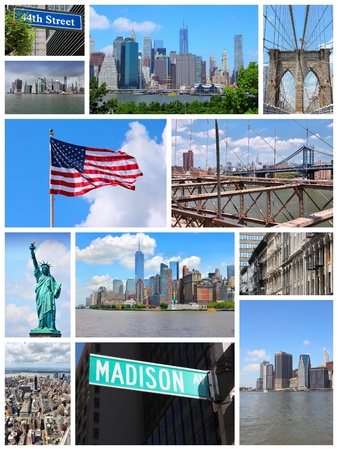 travel collage: New York City travel collage - photo set with Statue of Liberty, Manhattan skyline and Brooklyn Bridge.