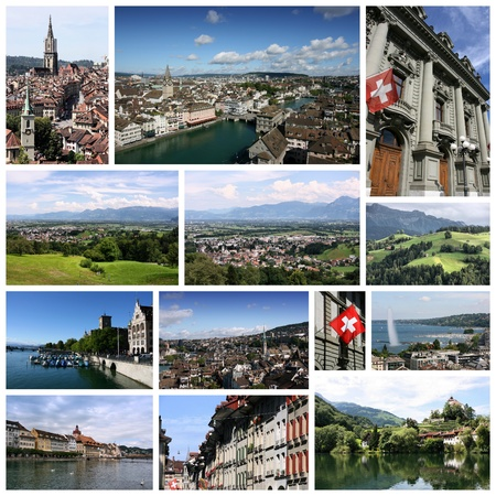 travel collage: Travel collage from Switzerland. Collage includes famous places like Berne, Geneva, Zurich and Luzern.