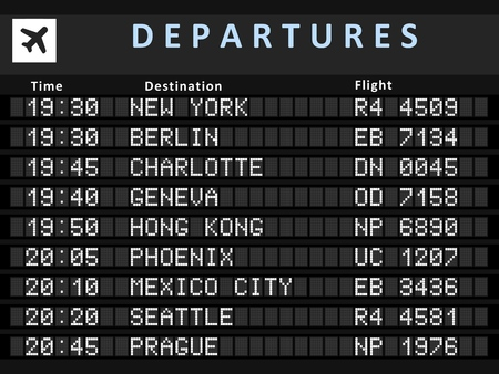 info board: Airport departure board with following destinations: New York, Berlin, Charlotte, Geneva, Hong Kong, Phoenix, Mexico City, Seattle and Prague. Illustration