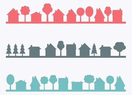 Kleine stad vector silhouetten met lege kopie ruimte. Village illustratie. Stock Illustratie
