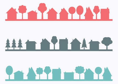 Small town vector silhouettes with blank copy space. Village illustration. Vettoriali