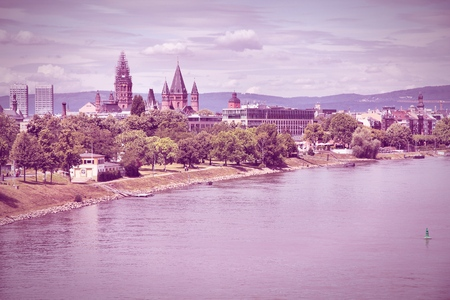 MAINZ: Mainz, Germany - town in Rhineland-Palatinate region. City skyline with river Rhine. Filtered style - retro toned image.